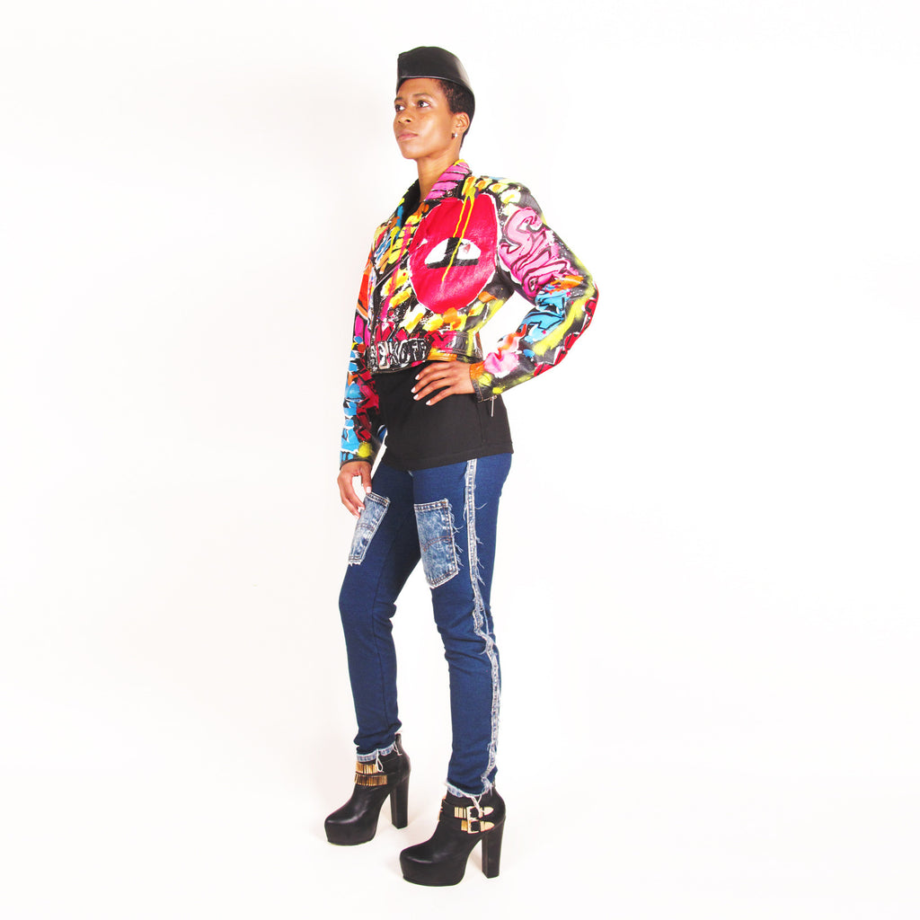 Iris Bonner THESEPINKLIPS Gone Crazy Leather MC Jacket - AVAILABLE FOR IMMEDIATE DELIVERY SIZE M
