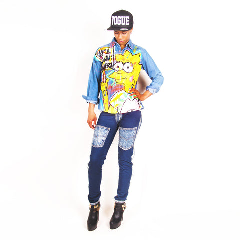 Iris Bonner THESEPINKLIPS 'Lisa Girl Power' Denim Shirt -AVAILABLE FOR IMMEDIATE DELIVERY SIZE S
