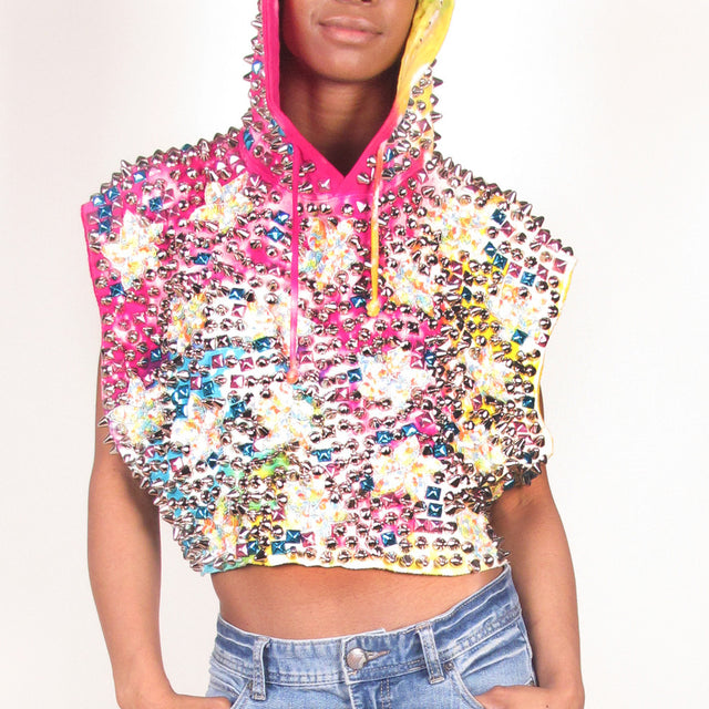 STUDMUFFIN 'Tie Dye' Fully Loaded Crop Hoodie- AVAILABLE FOR IMMEDIATE DELIVERY SIZE M