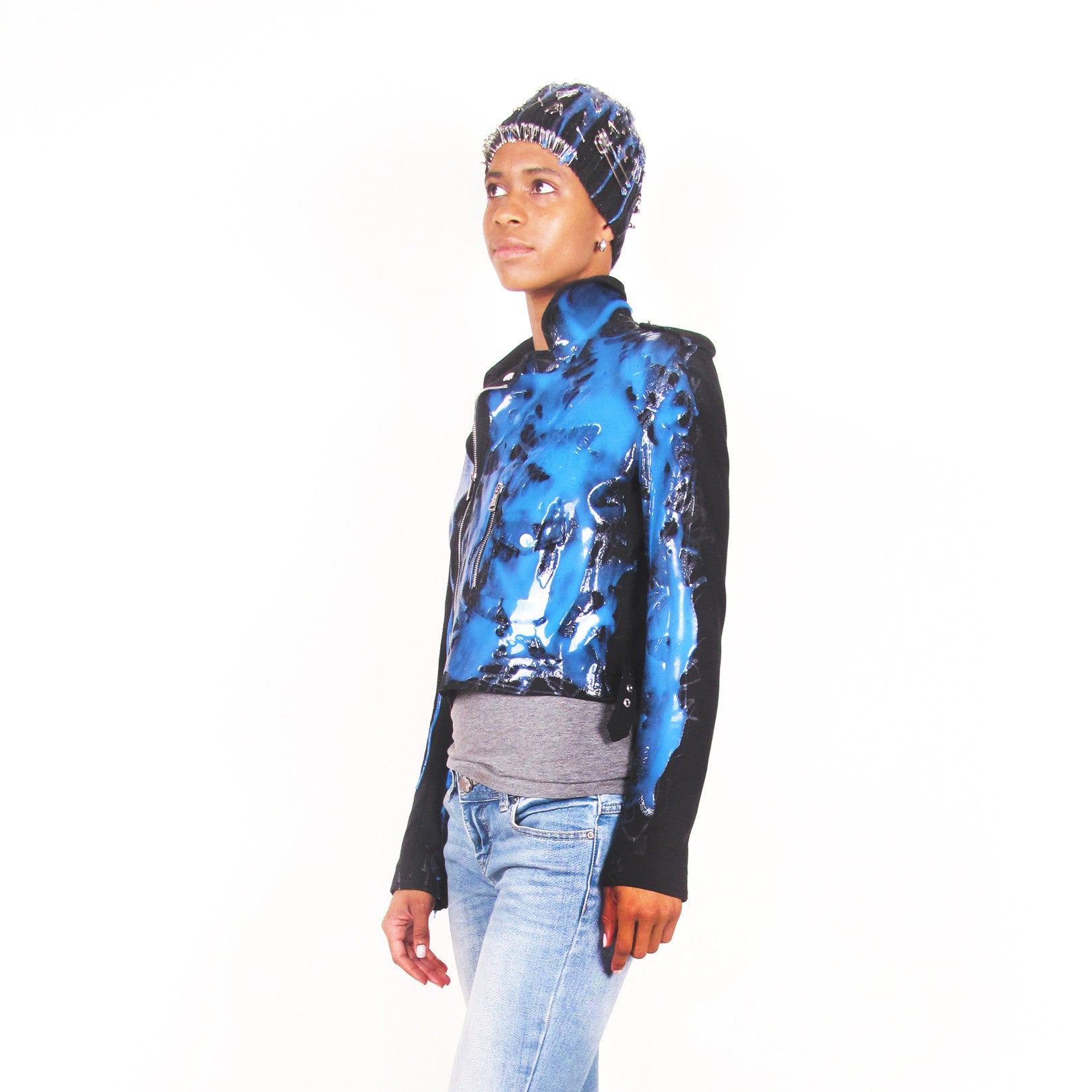 SSIK ONE OF A KIND Silicon Glitter Beaded Drip Jacket - AVAILABLE FOR  IMMEDIATE DELIVERY SIZE S