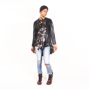 Silicon Drip Sequin Leather Moto Jacket