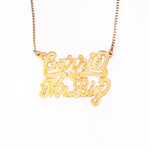 14K Gold Two-Name Stacked Custom Nameplate