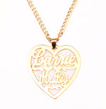 14K Gold 'Heart Pendant' Custom Nameplate Necklace