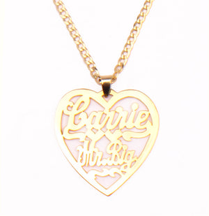 Gold Plated 'Heart Pendant' Custom Nameplate