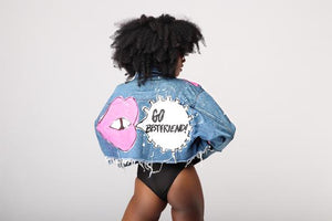 Go BEST FRIEND! Cropped Denim Jacket