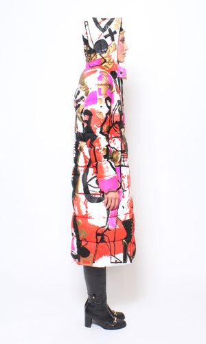 Abstract Gold Painted Puffer Long Coat