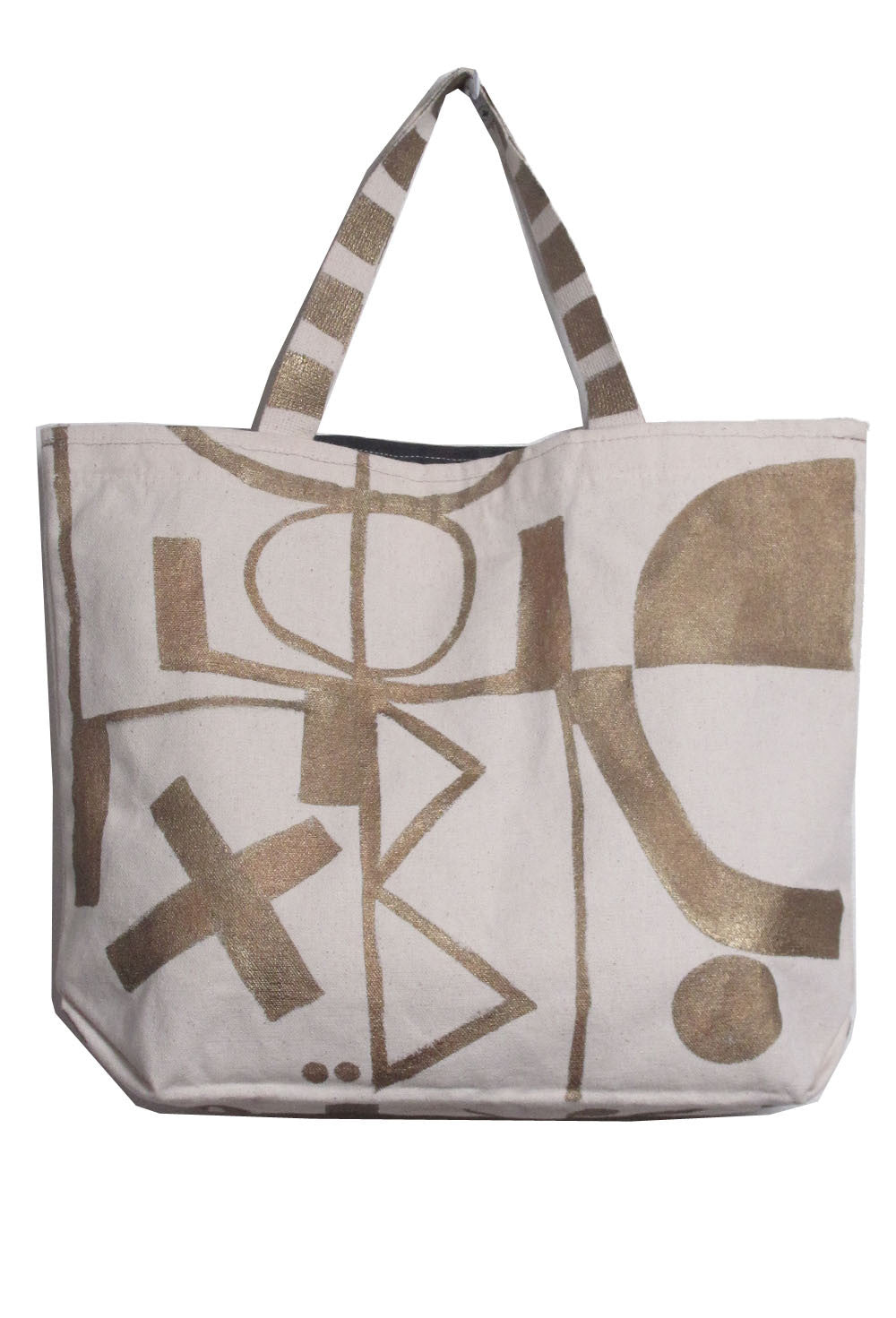Abstract Cotton Tote w/ Lizard Charm