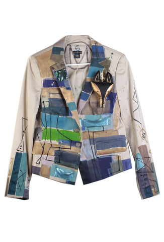 Jody MORLOCK Hand Painted 'Fox Mesh' Women's Blazer IMMEDIATE DELIVERY SIZE M