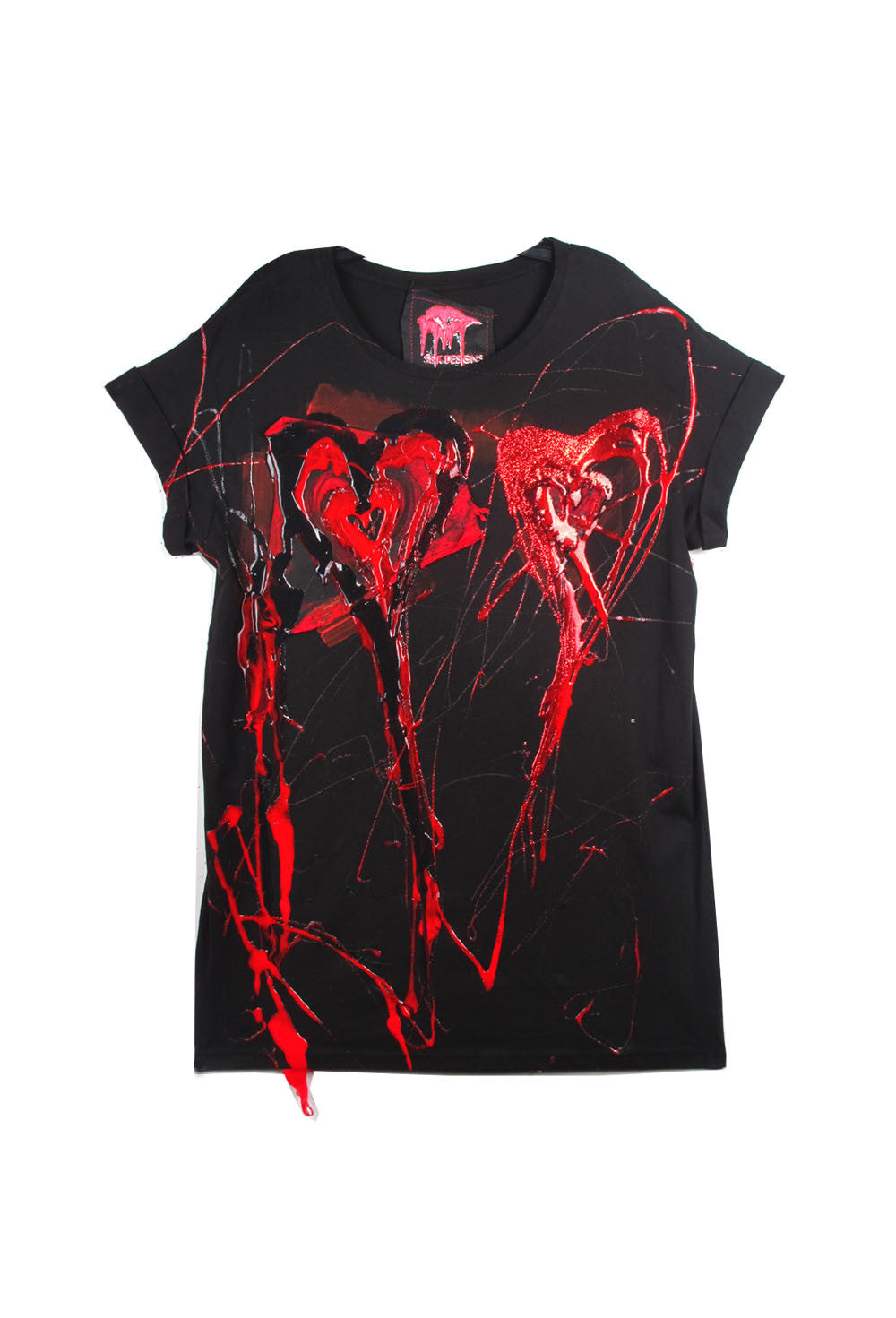 SSIK ONE OF A KIND Silicon Drip Double Heart Glitter Tee - AVAILABLE FOR  IMMEDIATE DELIVERY SIZE M