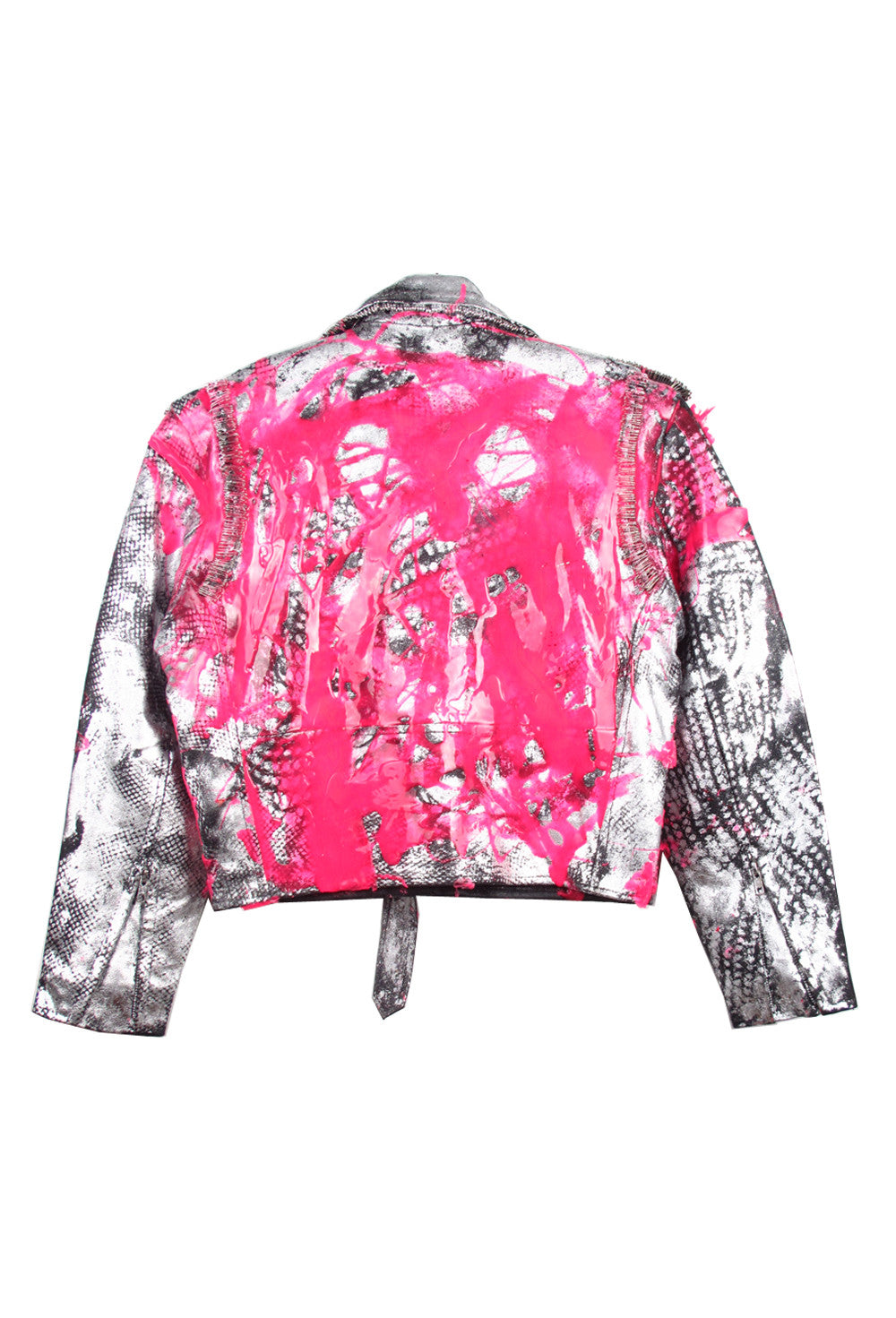 SSIK ONE OF A KIND Fluo Silicon Drip Metallic Leather Moto Jacket - AVAILABLE FOR  IMMEDIATE DELIVERY SIZE 38