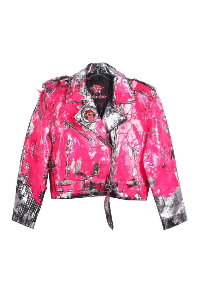 Fluo Silicone Drip Metallic Leather Moto Jacket