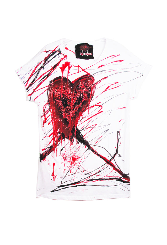 SSIK ONE OF A KIND Silicon Drip Glitter Heart Tee - AVAILABLE FOR  IMMEDIATE DELIVERY SIZE M