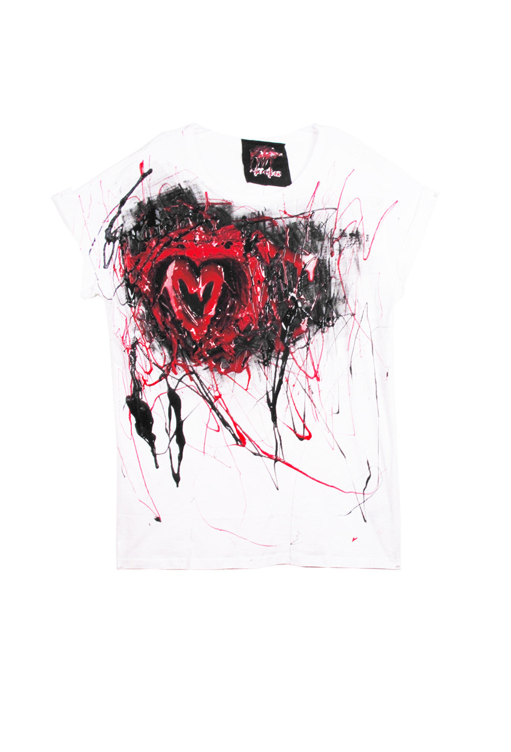 SSIK ONE OF A KIND Silicon Drip Scribble Heart Tee - AVAILABLE FOR  IMMEDIATE DELIVERY SIZE L
