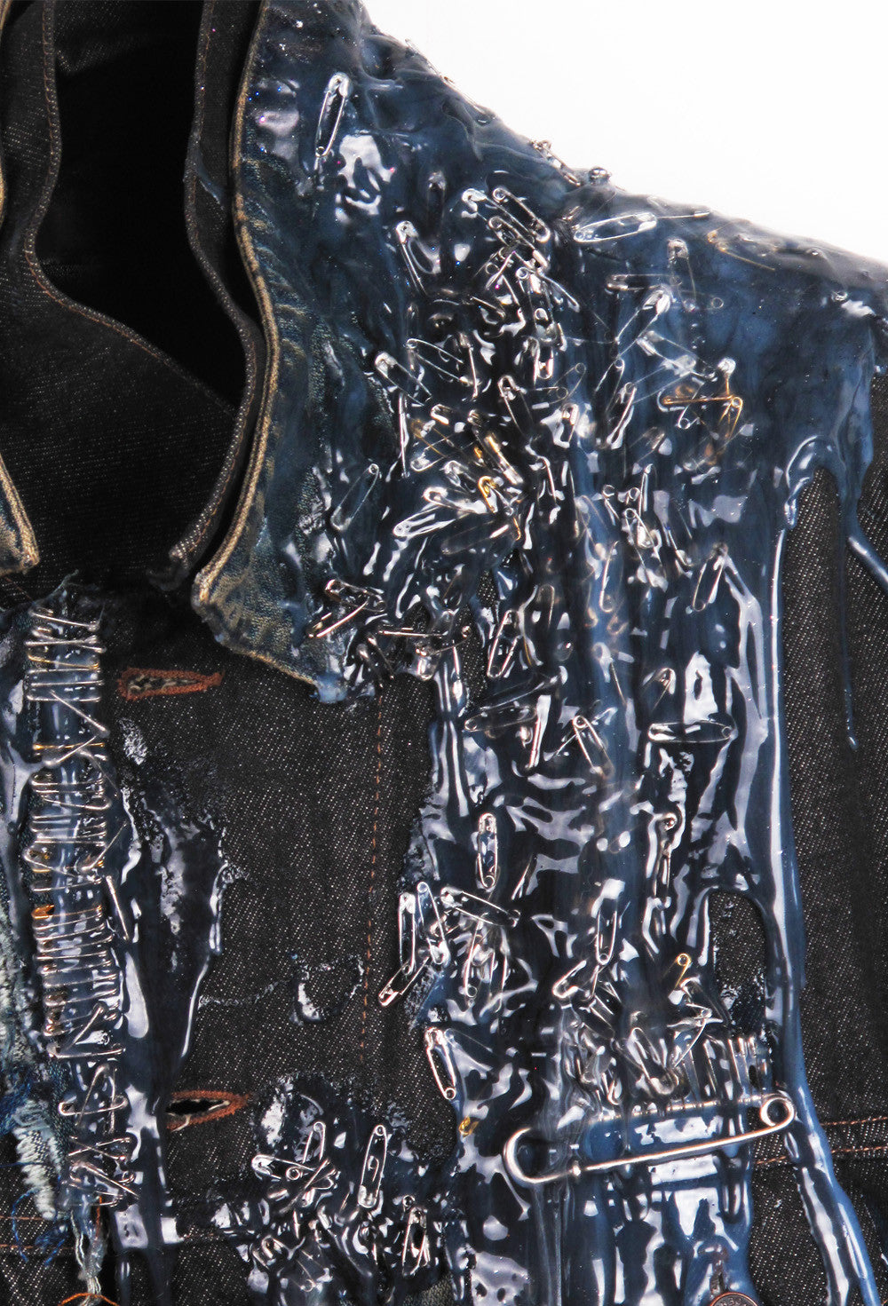 SSIK ONE OF A KIND Silicon Drip Oversized Denim Jacket - AVAILABLE FOR  IMMEDIATE DELIVERY MENS SIZE L/XL