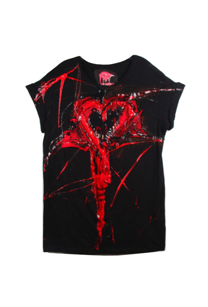 SSIK ONE OF A KIND Silicon Drip Safety Pin Heart Tee - AVAILABLE FOR  IMMEDIATE DELIVERY SIZE M