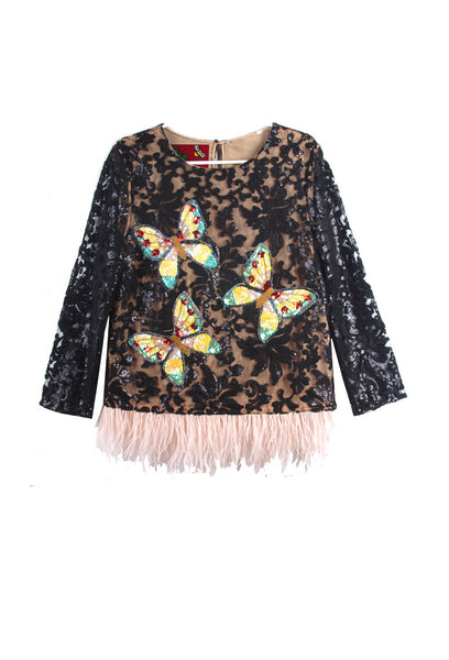 Suzanne Mallouk ONE OF A KIND Opaque Lace Top - AVAILABLR FOR IMMEDIATE DELIVERY SIZE M/L