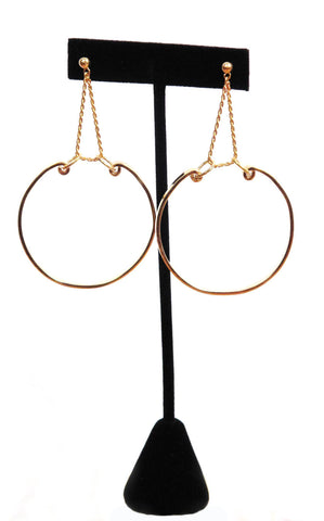 Patricia Field Signature Collection Gold Plated Large Hoop with Rope Chain Earrings