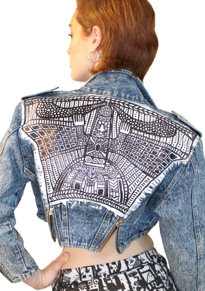 Tribal Crop Denim Jacket w/ Lapels