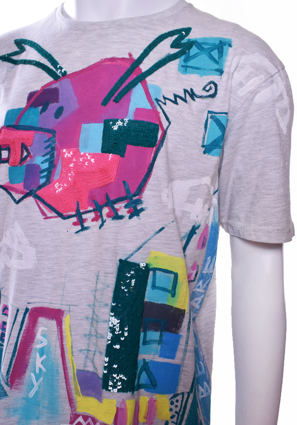 Unisex 'Flying Pigs' Sequin Tee