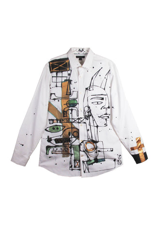 "'Jody MORLOCK' Hand Painted ""ABSTRACT' Men's Dress Shirt - AVAILABLE FOR IMMEDIATE DELIVERY SIZE L"