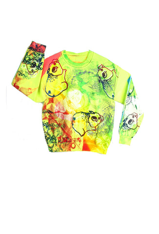 Ben Copperwheat One of A Kind 'PIGS MULTI' Sweatshirt- AVAILABLE FOR IMMEDIATE DELIVERY SIZE M