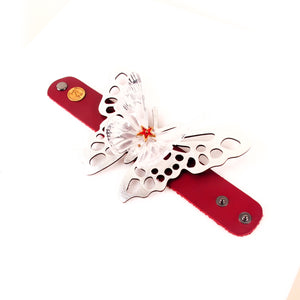 Red Leather Butterfly & Skull Cuff