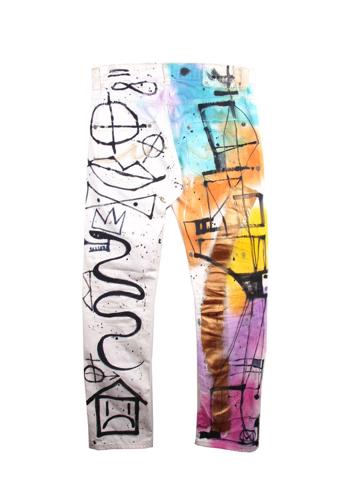 'Jody MORLOCK' Hand Painted White Denim Jeans - IMMEDIATE DELIVERY SIZE 34