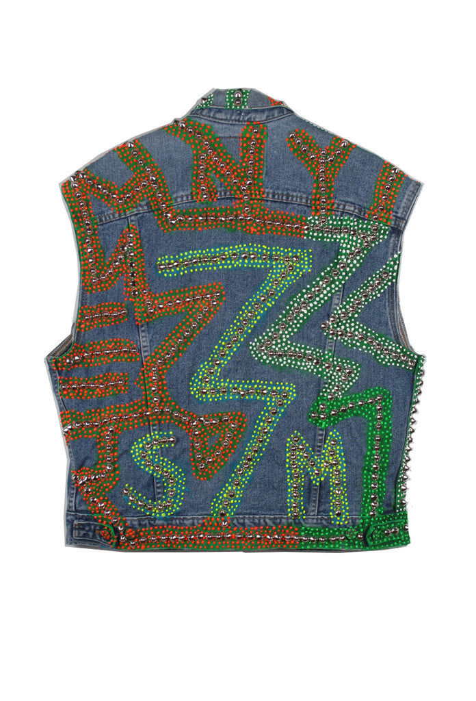 STUDmuffin NYC One of a Kind Men's Painted & Studded Denim Vest- AVAILABLE FOR IMMEDIATE DELIVERY SIZE M/L