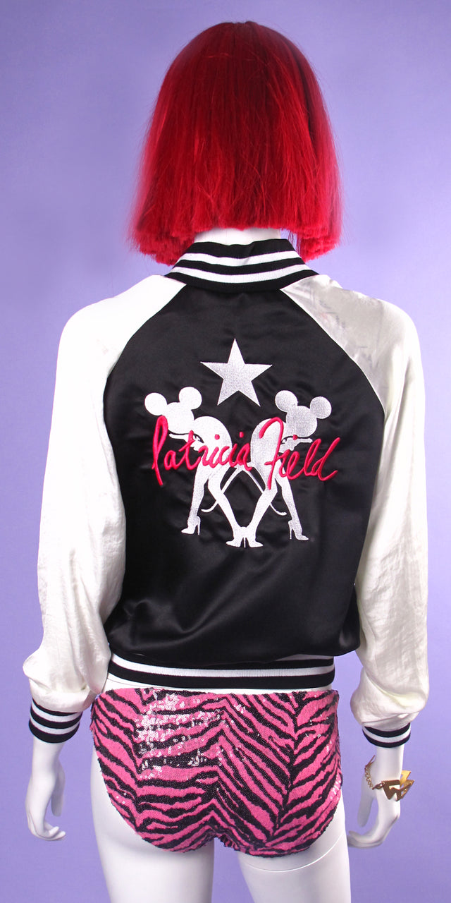 Satin Crop Signature Baseball Jacket