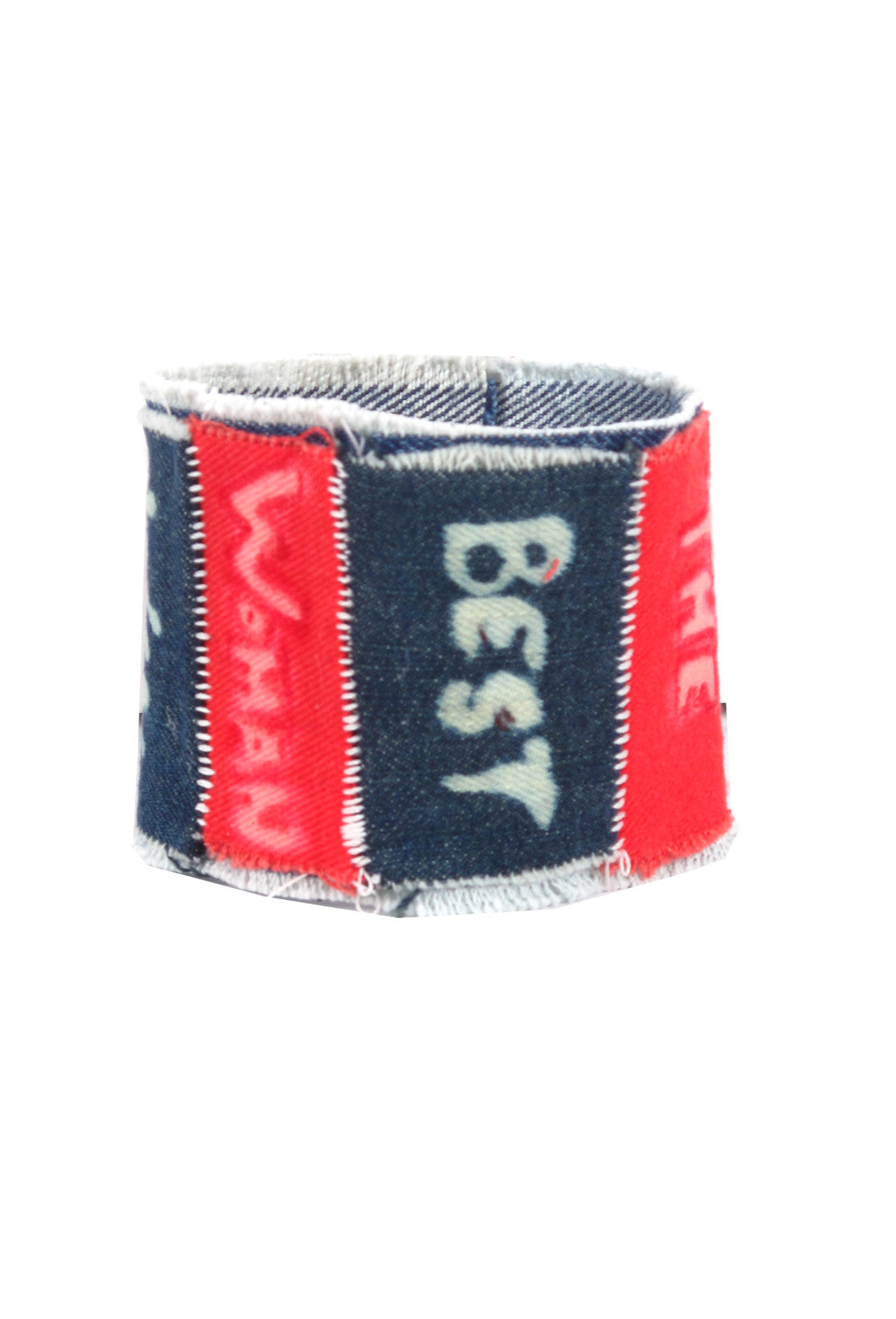 PHRASE PATCH DENIM CUFF- AVAILABLE FOR IMMEDIATE DELIVERY