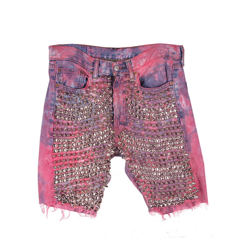 Hand Dyed Spiked Denim Shorts