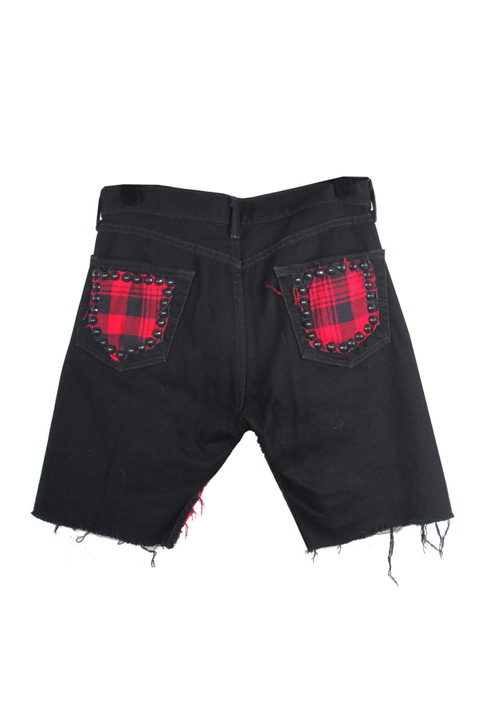 STUDmuffinNYC Punk Patchwork Black Denim Shorts - AVAILABLE FOR IMMEDIATE DELIVERY SIZE 32