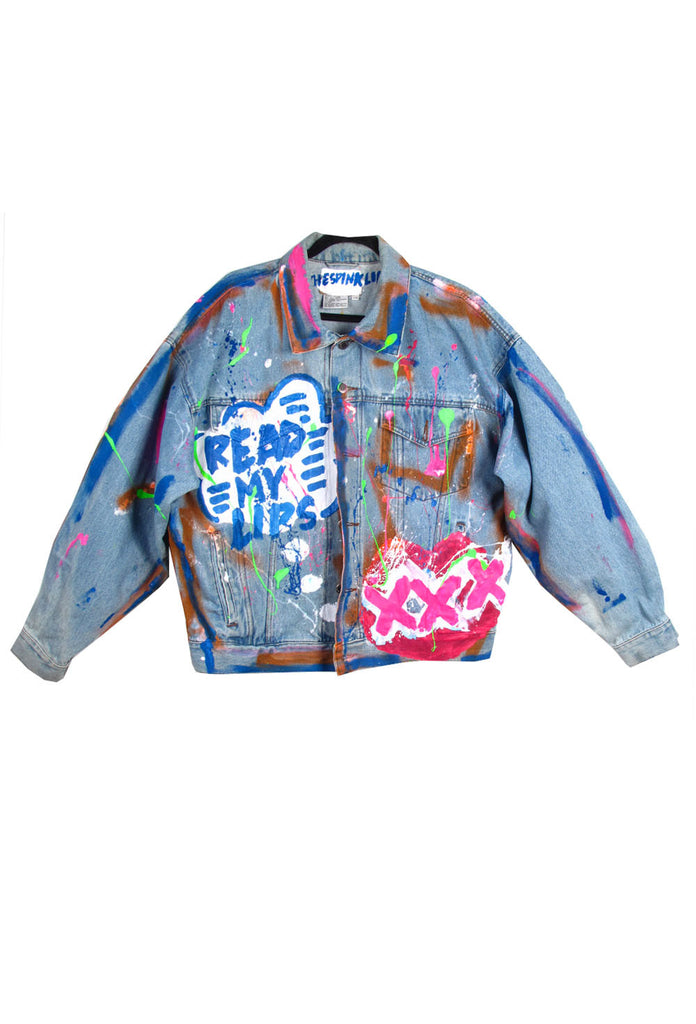 Iris Bonner THESEPINKLIPS Read My Lips Denim Jacket- AVAILABLE FOR IMMEDIATE DELIVERY SIZE MENS L