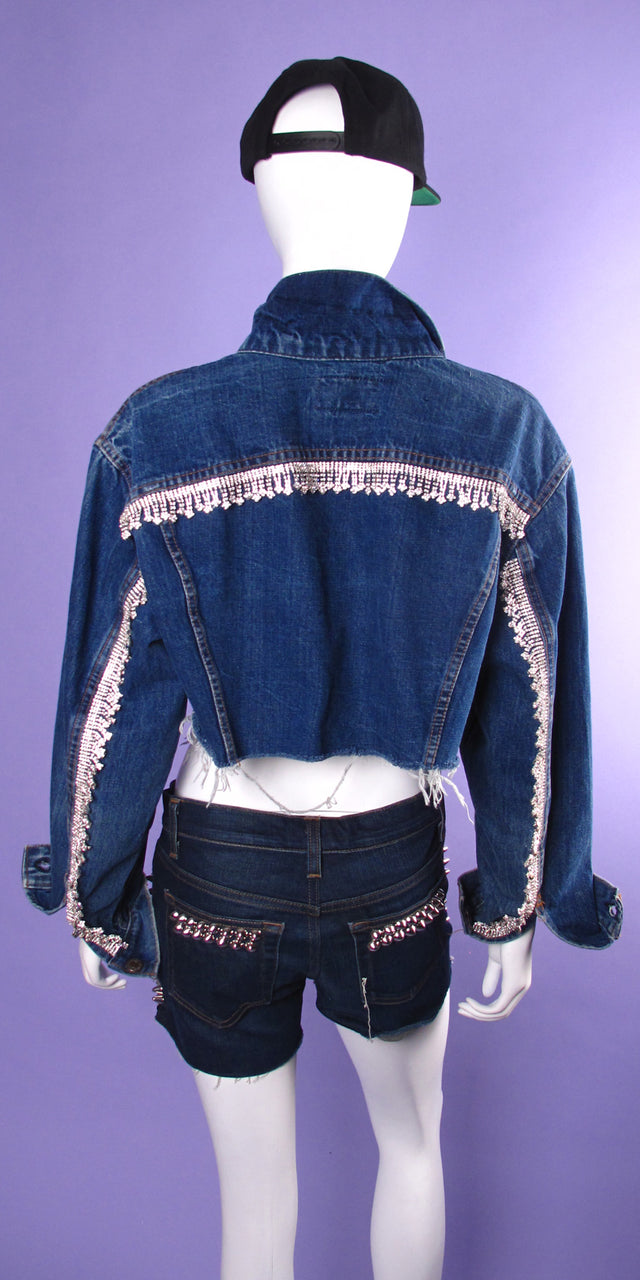 Crystal Fringe Crop Jacket
