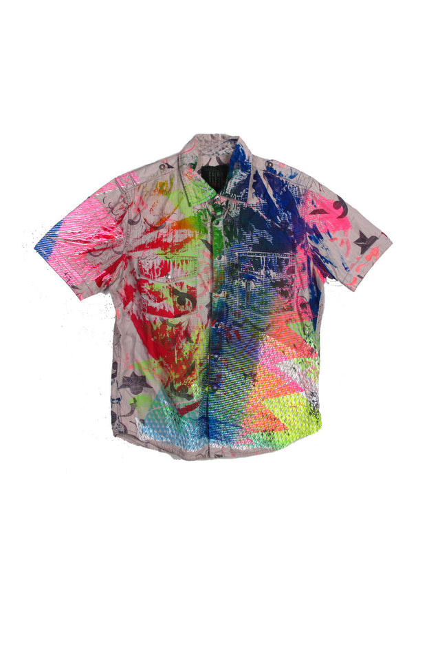 Mixed Print Short Sleeve Shirt