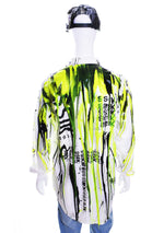 Men's Logo Liquid Silicone Drip Button Down - White / Black / Yellow