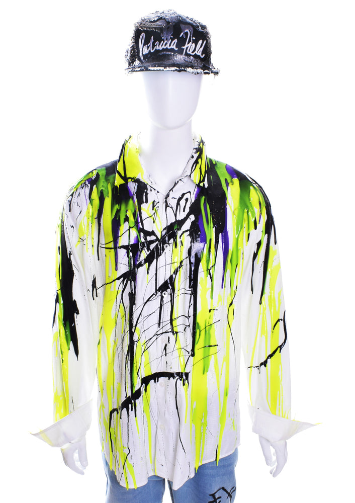 Men's Liquid Silicone Drip Button Down - White / Green / Purple / Black