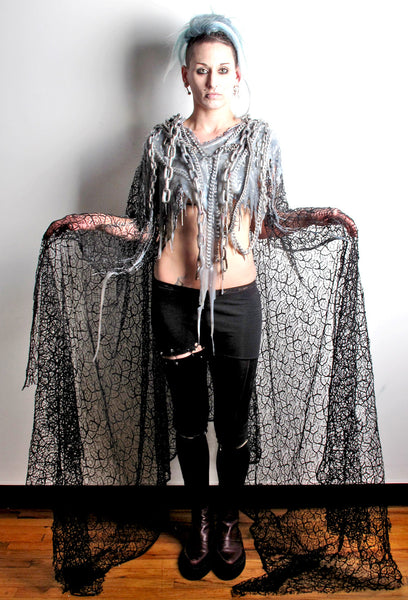 SSIK ONE OF A KIND Silicon and Chain Lace Cape - IMMEDIATE DELIVERY SIZE O/S