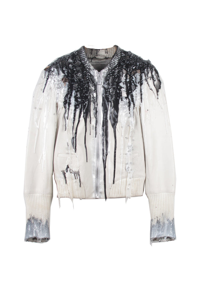 SSIK ONE OF A KIND Silicon Drip Plexi-Mosaic Leather Jacket - AVAILABLE FOR  IMMEDIATE DELIVERY SIZE S