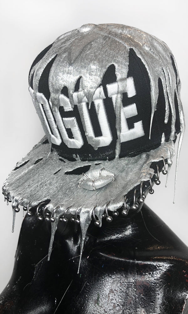 Silver Drip VOGUE Snapback w/ Horseshoe barbell pierced