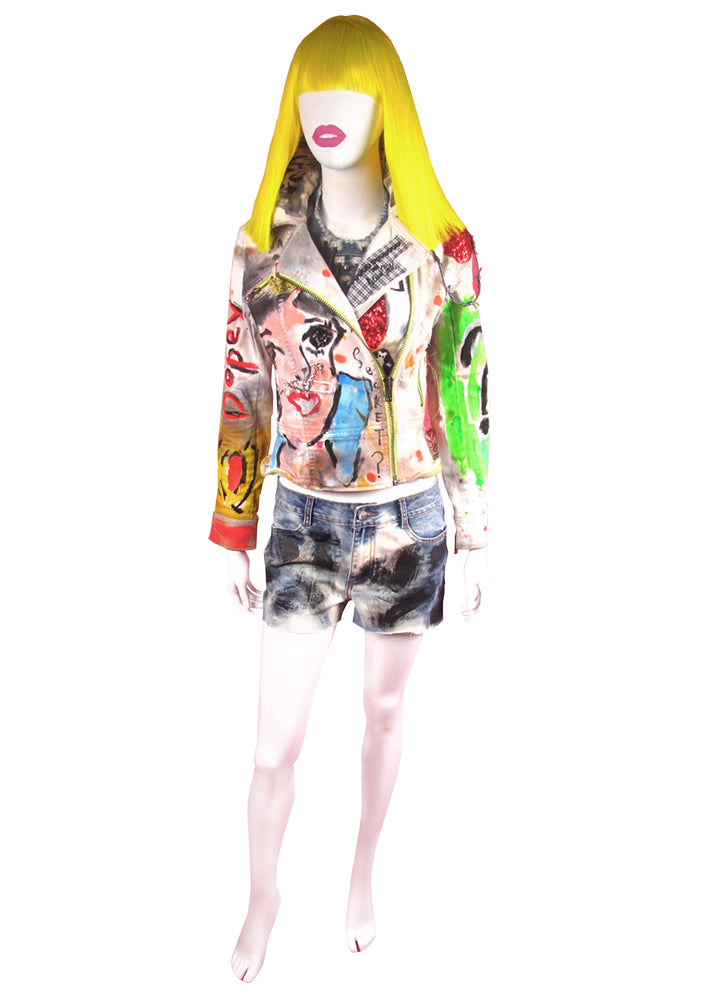 Snow White Denim Biker Jacket