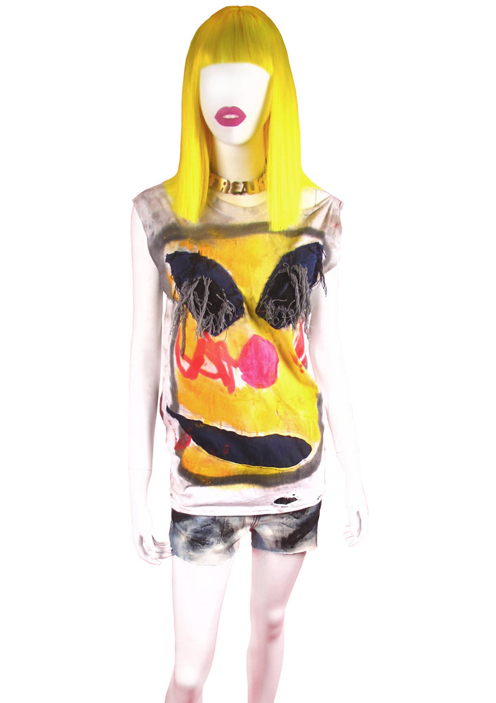 Yellow Monster Face Muscle Tee