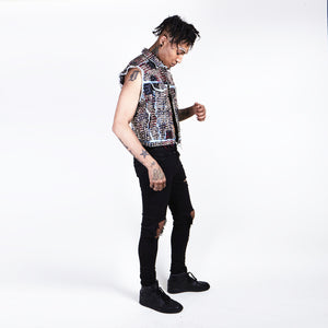 Punk Patchwork Studded Denim Vest