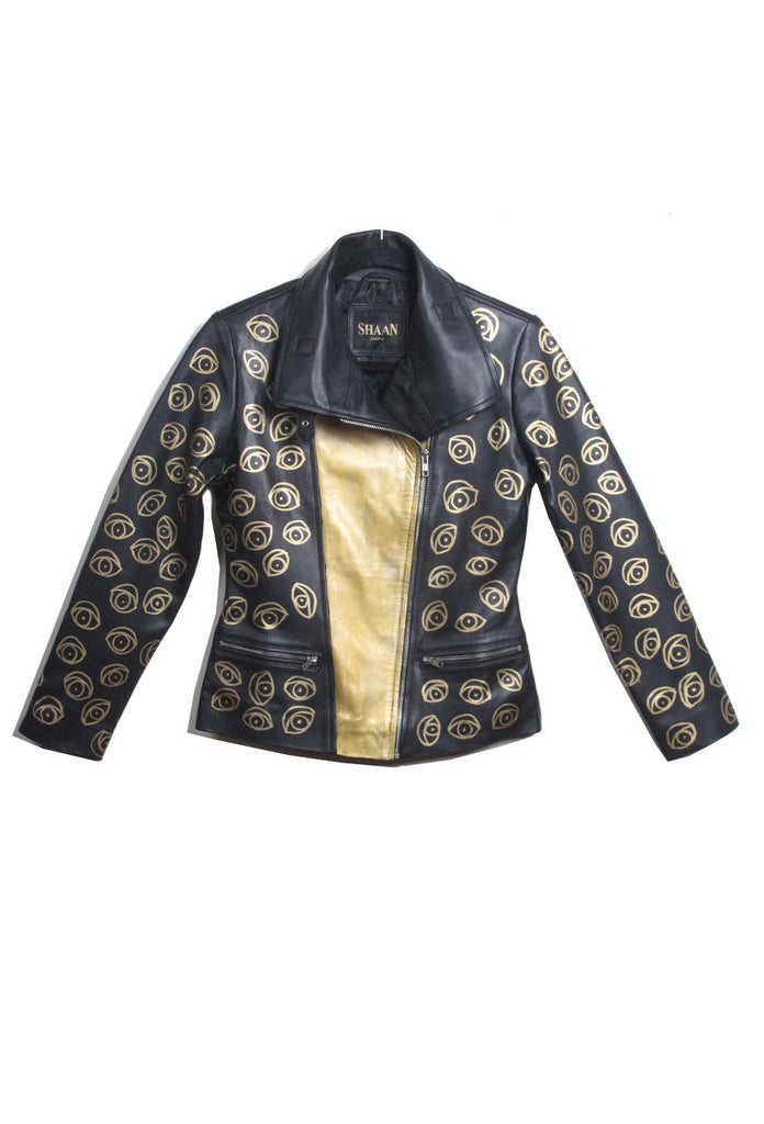 Suzanne Mallouk  'EYE SEE YOU' Ayssemetrical Genuine Leather Jacket - IMMEDIATE DELIVERY SIZE M