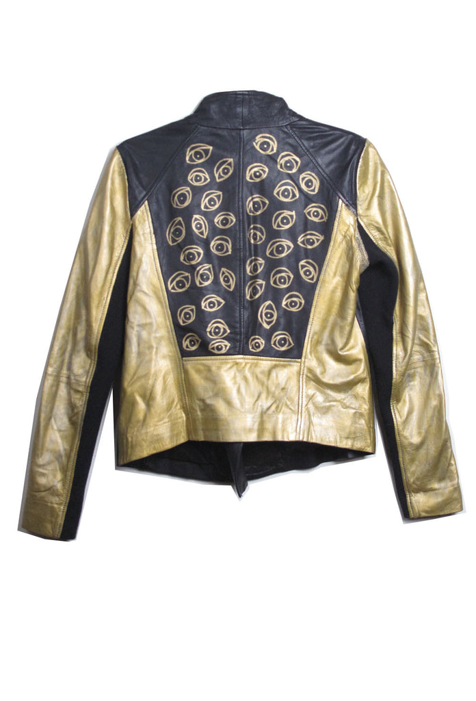 Suzanne Mallouk  'EYE SEE YOU' Gold Genuine Leather Jacket - IMMEDIATE DELIVERY SIZE S/M