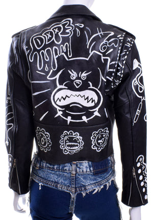 'DOPE' Cropped Leather MC Jacket