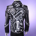 'ABSTRACT' Leather Moto Jacket