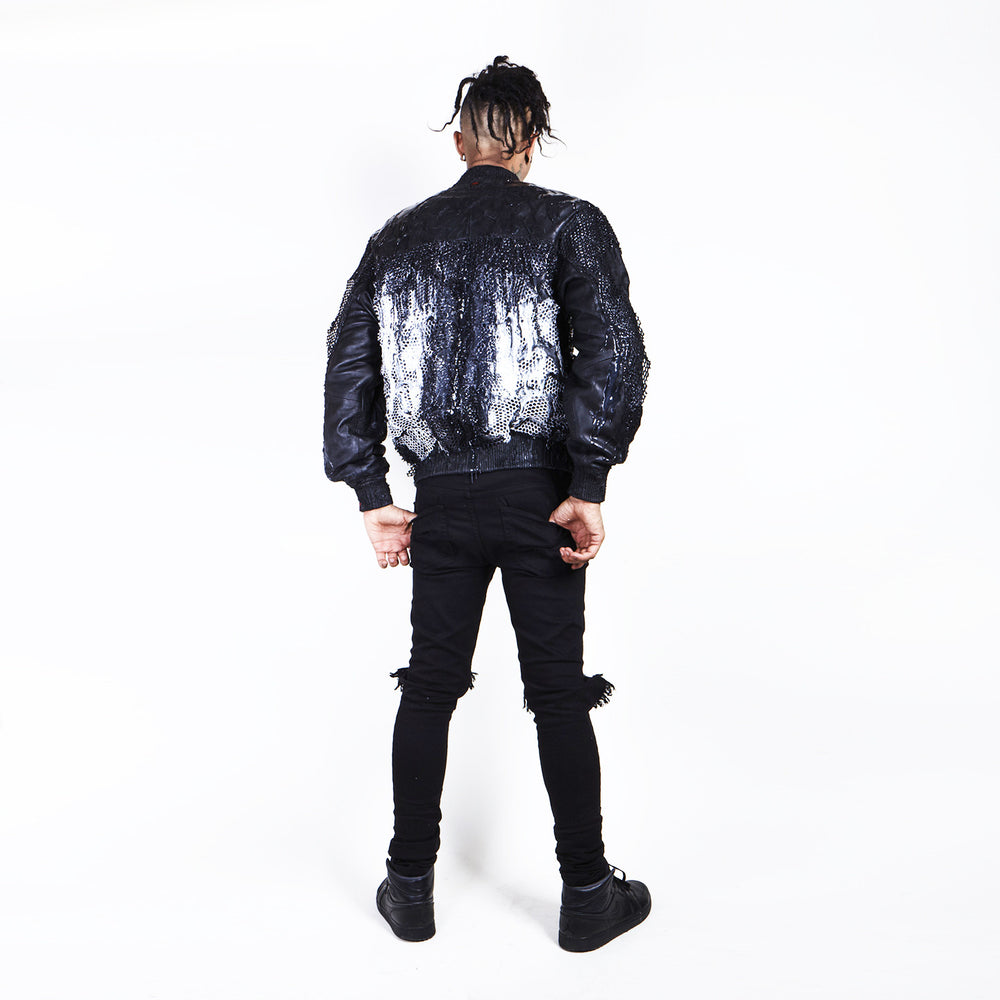 'SCRATCHED, STITCHED N' DRIPPED' Leather Bomber Jacket
