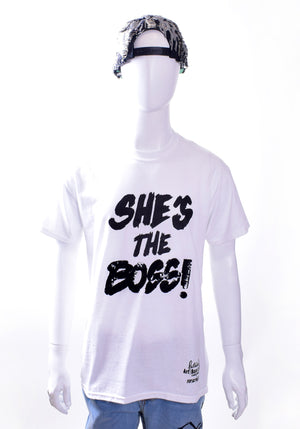 Sequined 'She's the Boss' Tee - White