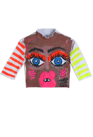 Iris Bonner THESEPINKLIPS The Face Crop Top- AVAILABLE FOR IMMEDIATE DELIVERY SIZE S